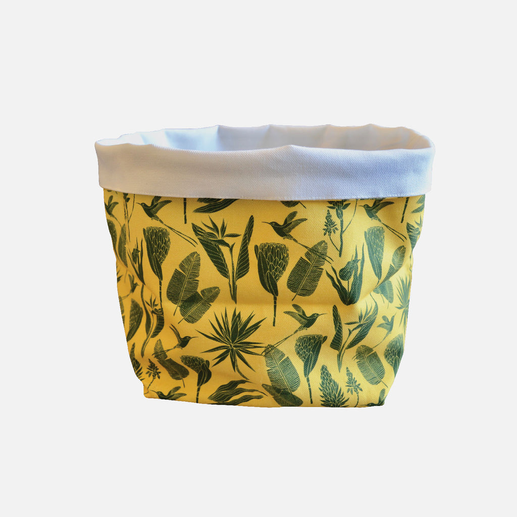 Medium Fabric Bucket - Botanicals Green on Yellow