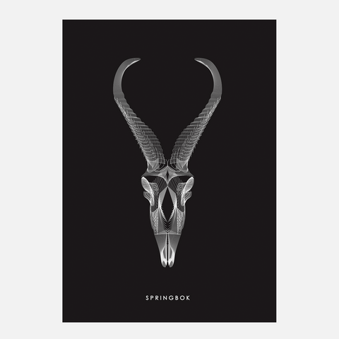Horned Buck Print - Springbok Black