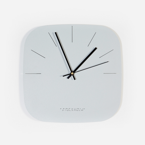 Warped Moon Clock - Light Grey/ White
