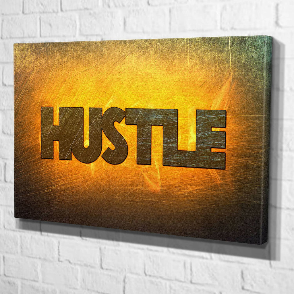 Hustle Canvas Wall Art Motivational Quote - Modern Inspirational ...
