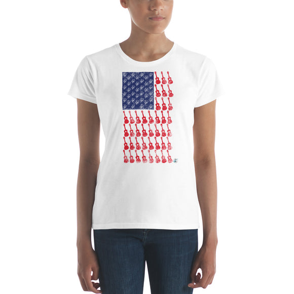AMERICAN FLAG Ladies' Short Sleeve T-shirt | Fashion Fit | Various Colors