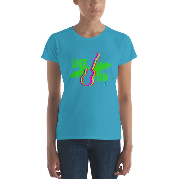 UKE ON Ladies' Short Sleeve T-Shirt | Neon Green | Fashion Fit | Various Colors