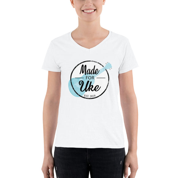MADE FOR UKE LOGO Ladies' Casual V-Neck Shirt | Relaxed Fit | White