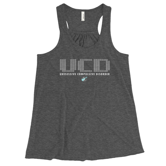 UKESESSIVE COMPULSIVE DISORDER Ladies' Flowy Racerback Tank | Various Colors