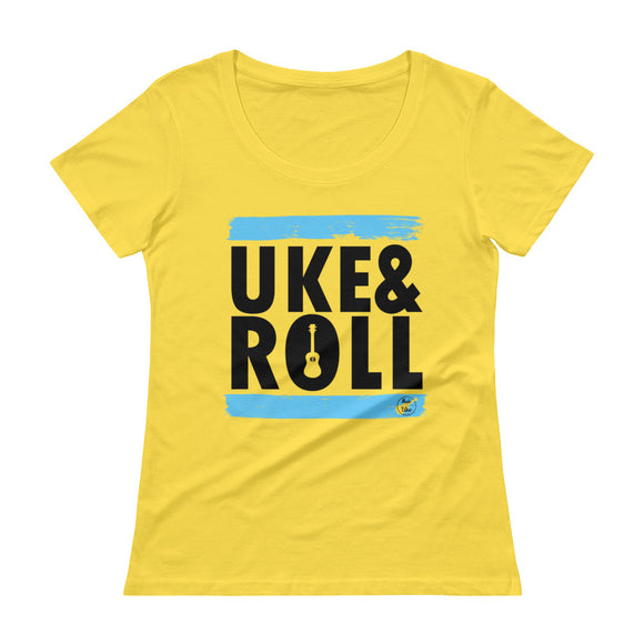 UKE & ROLL Ladies' Scoopneck T-Shirt | Blue | Various Colors