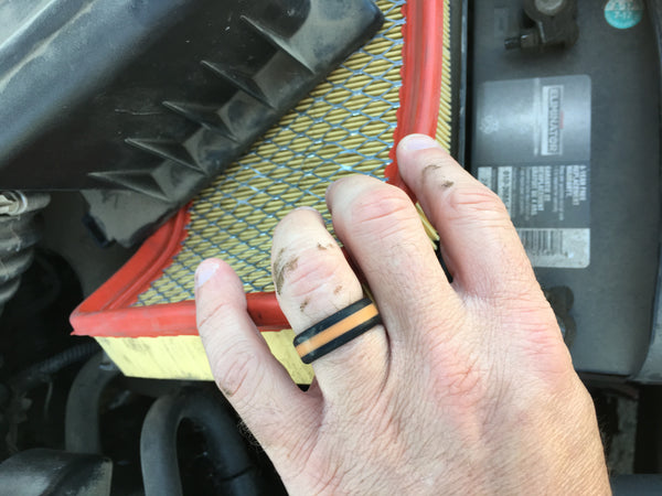 perfect birthday or anniversary gift for car mechanic husband or wife, holiday present idea for car lovers, safe ring for mechanics, alternative wedding ring for mechanic, wedding band for him and her, safe and durable ring for mechanics, ring to wear in the workshop
