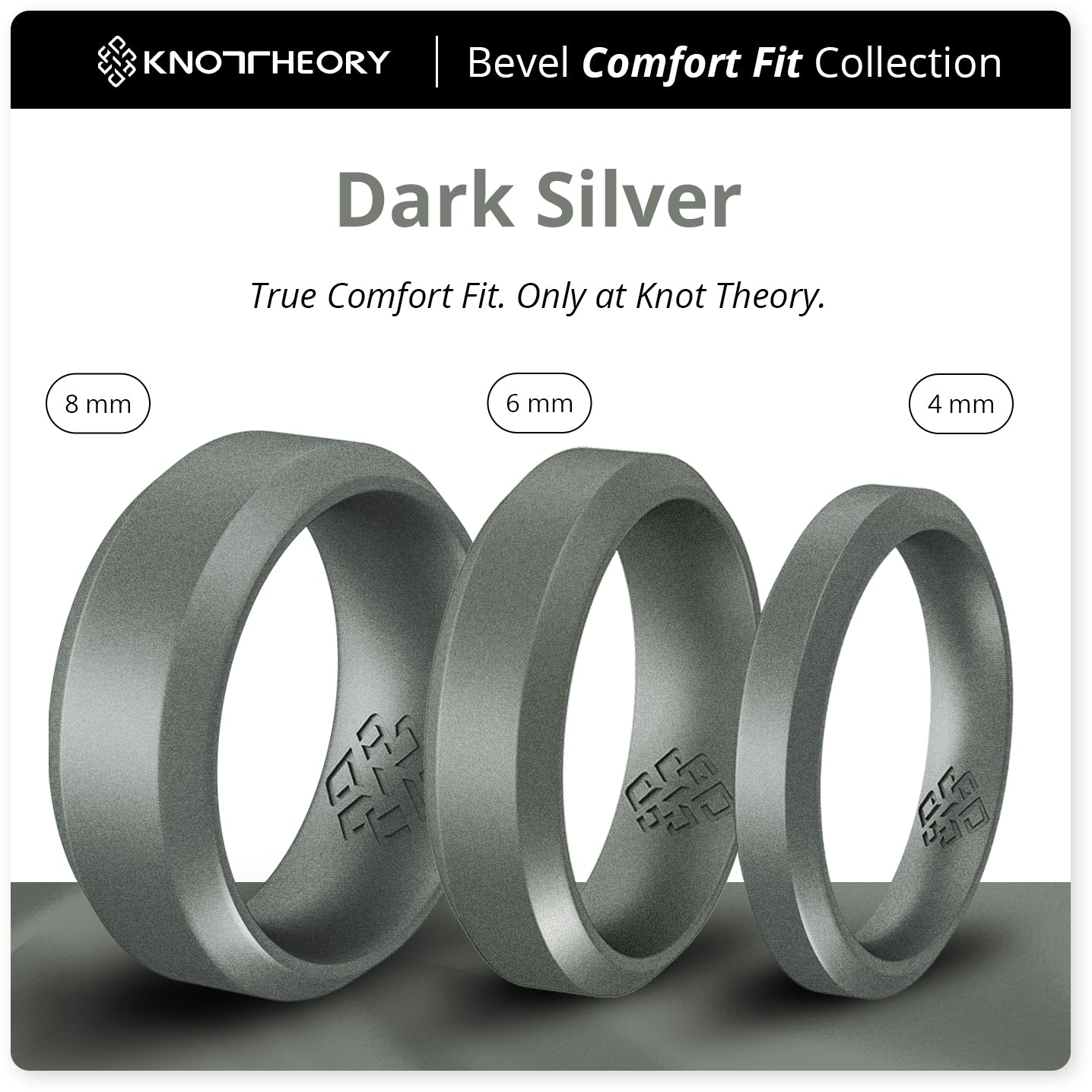 Dark Silver Bevel Comfort Fit Silicone Wedding Ring for Husband and Wife