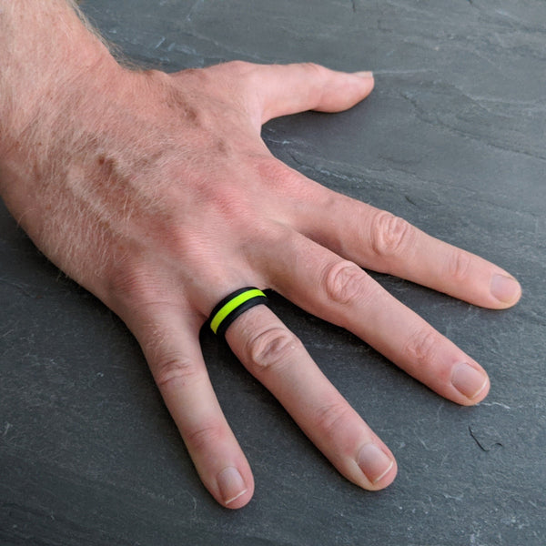 Neon Yellow Striped Silicone Ring for Men