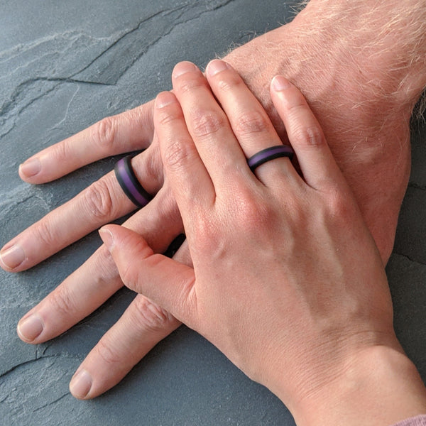 Purple Striped Silicone Ring Man Woman