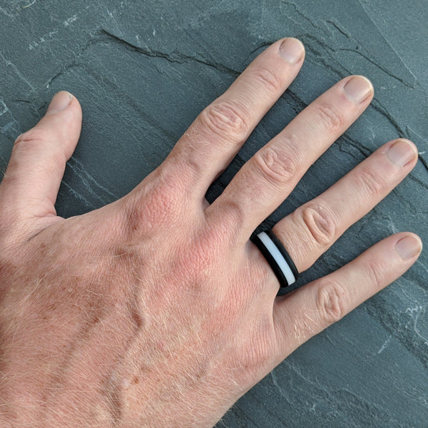 White Striped Silicone Ring Man