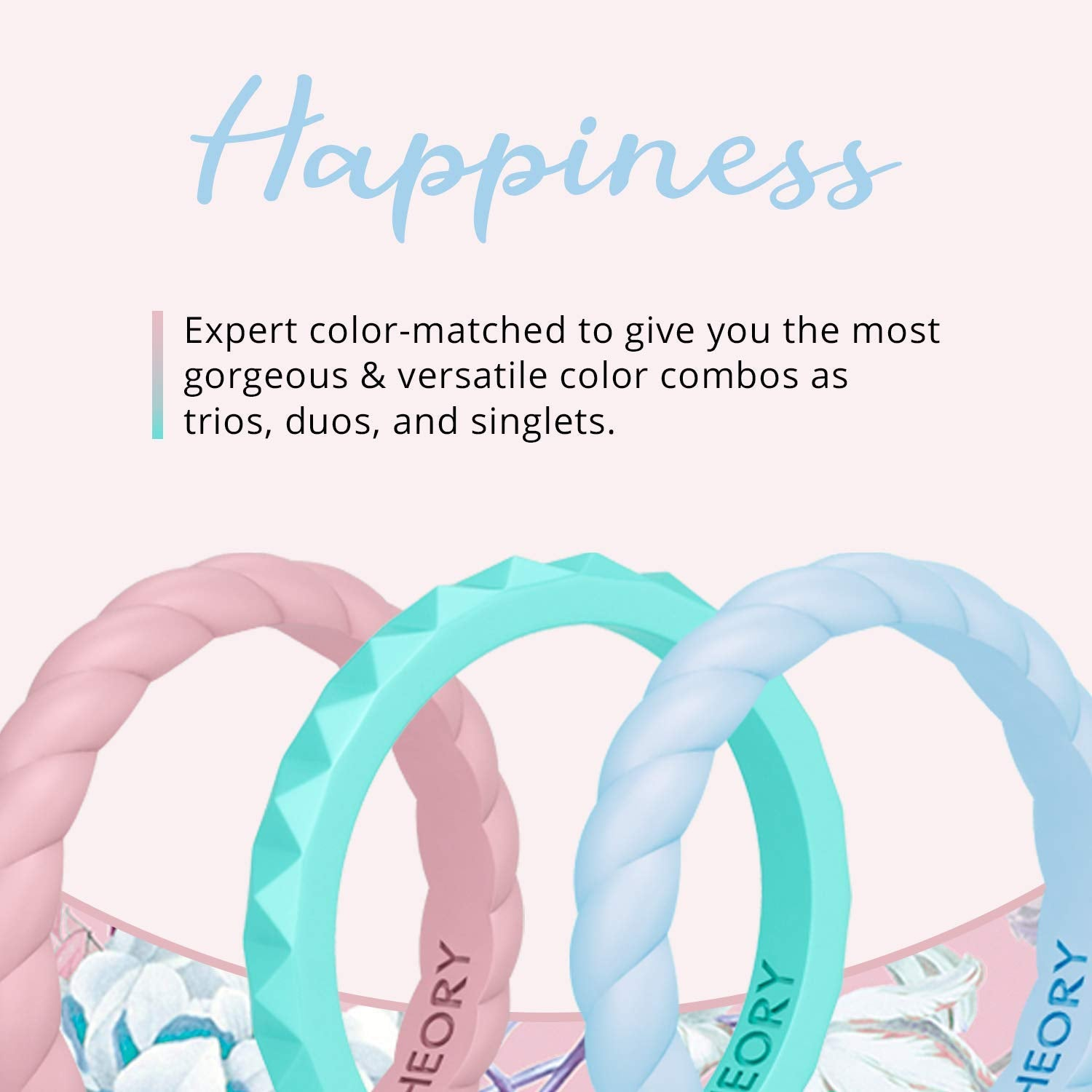 Happiness Stackable Silicone Rings 3-Pack Woman