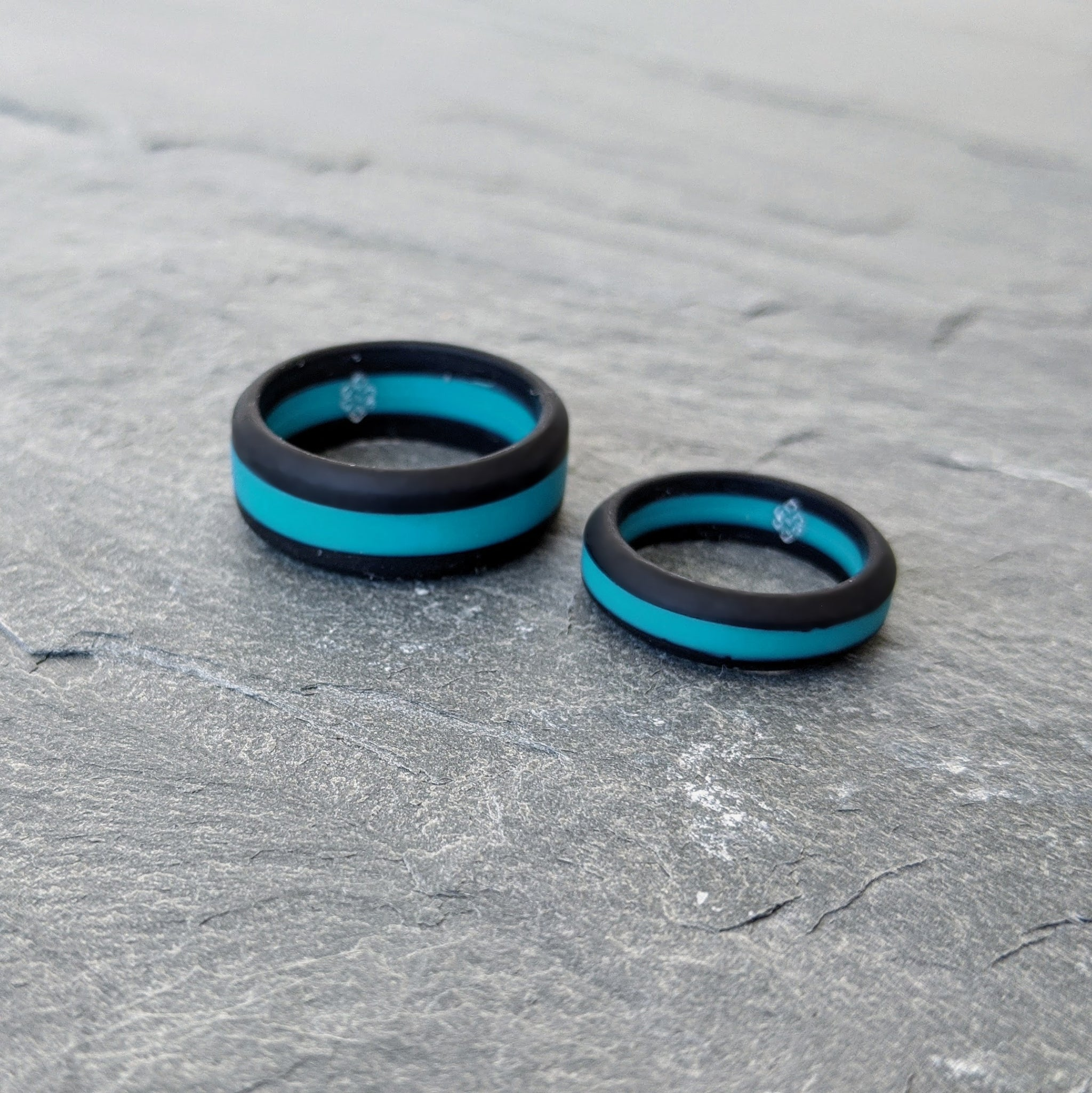 Teal Striped Silicone Ring Man Woman