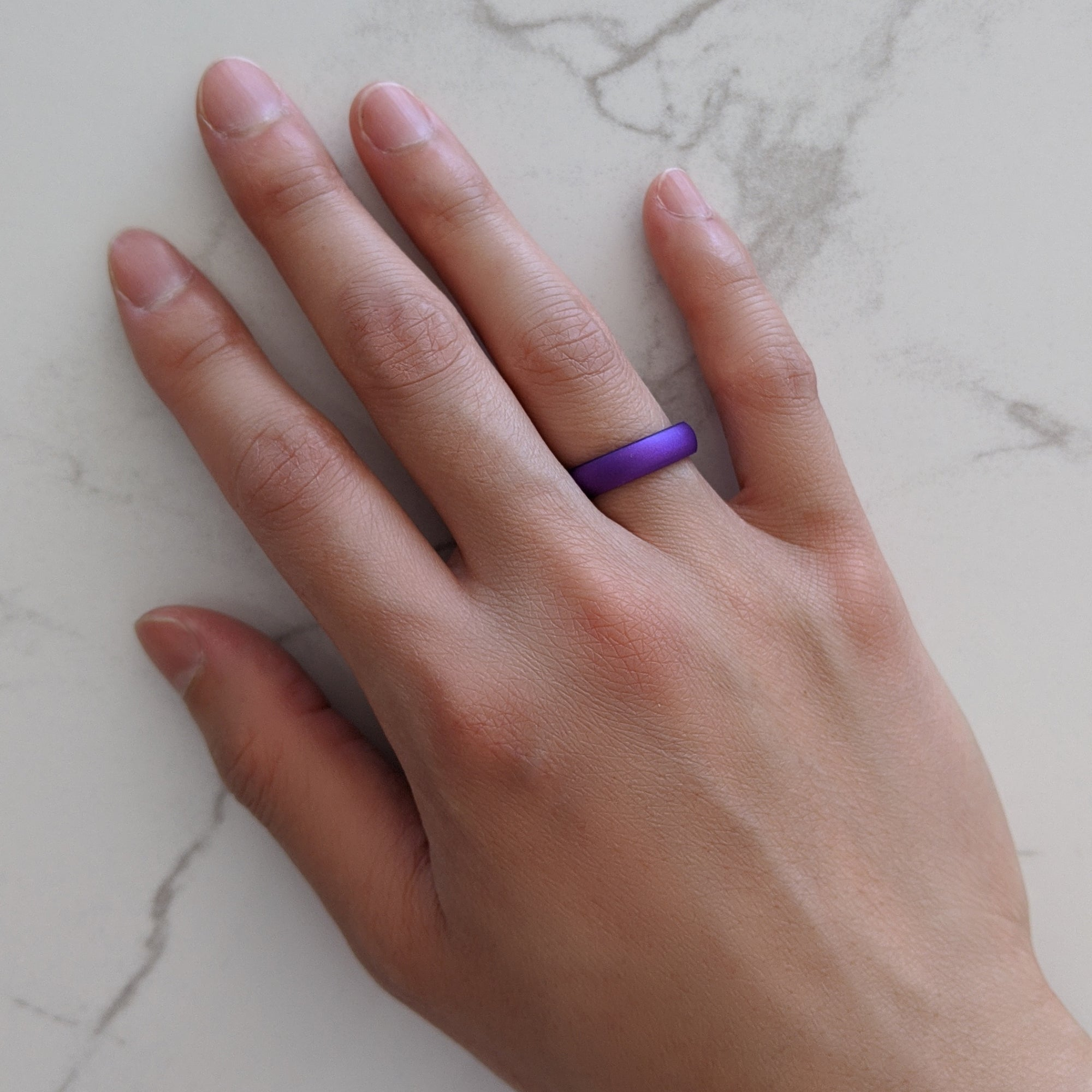 Pearl Purple Domed Comfort Fit Silicone Ring Woman