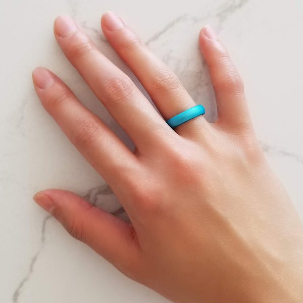 Pearl Aquamarine Domed Comfort Fit Silicone Ring Woman