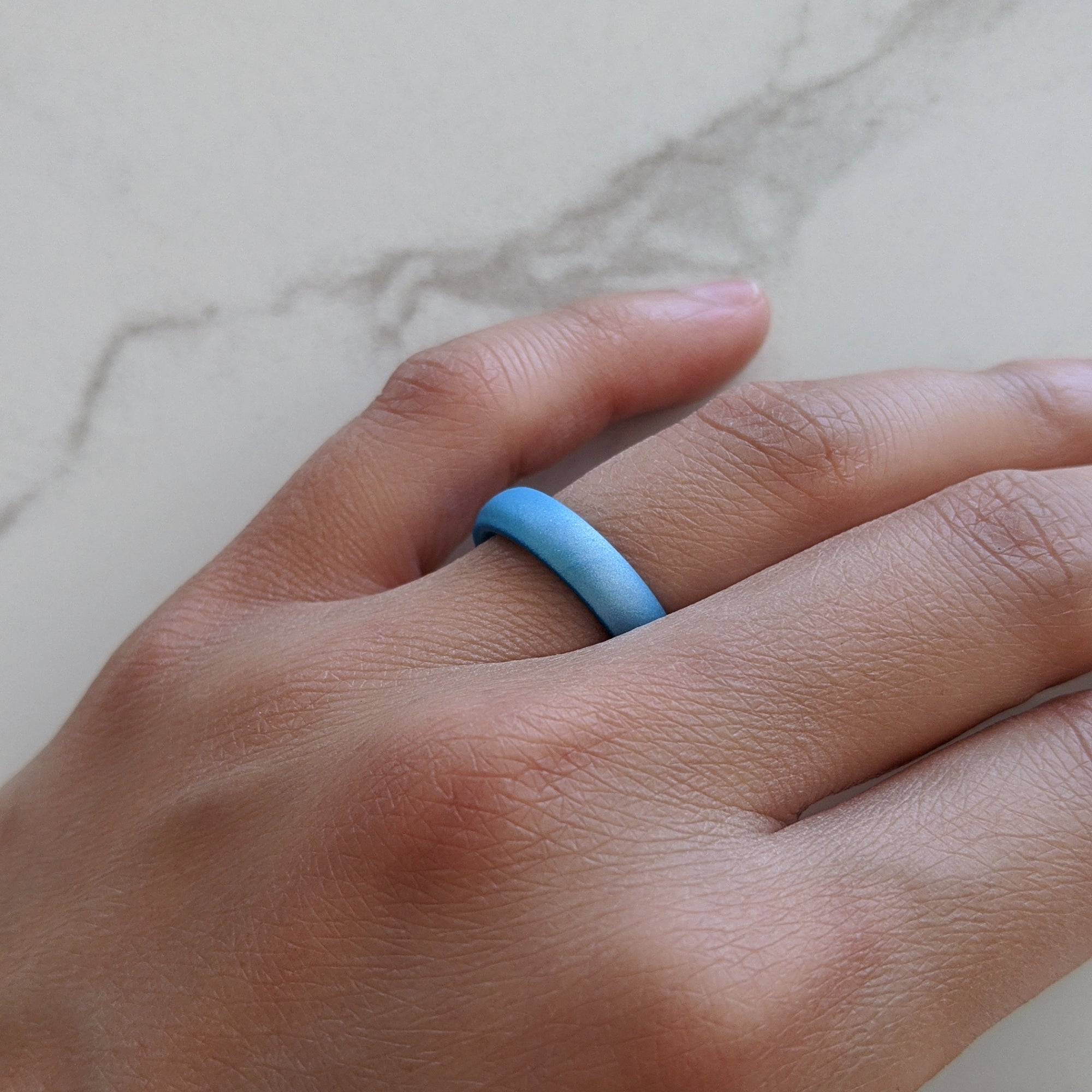 Pearl Aquamarine Breathable Silicone Ring for Women