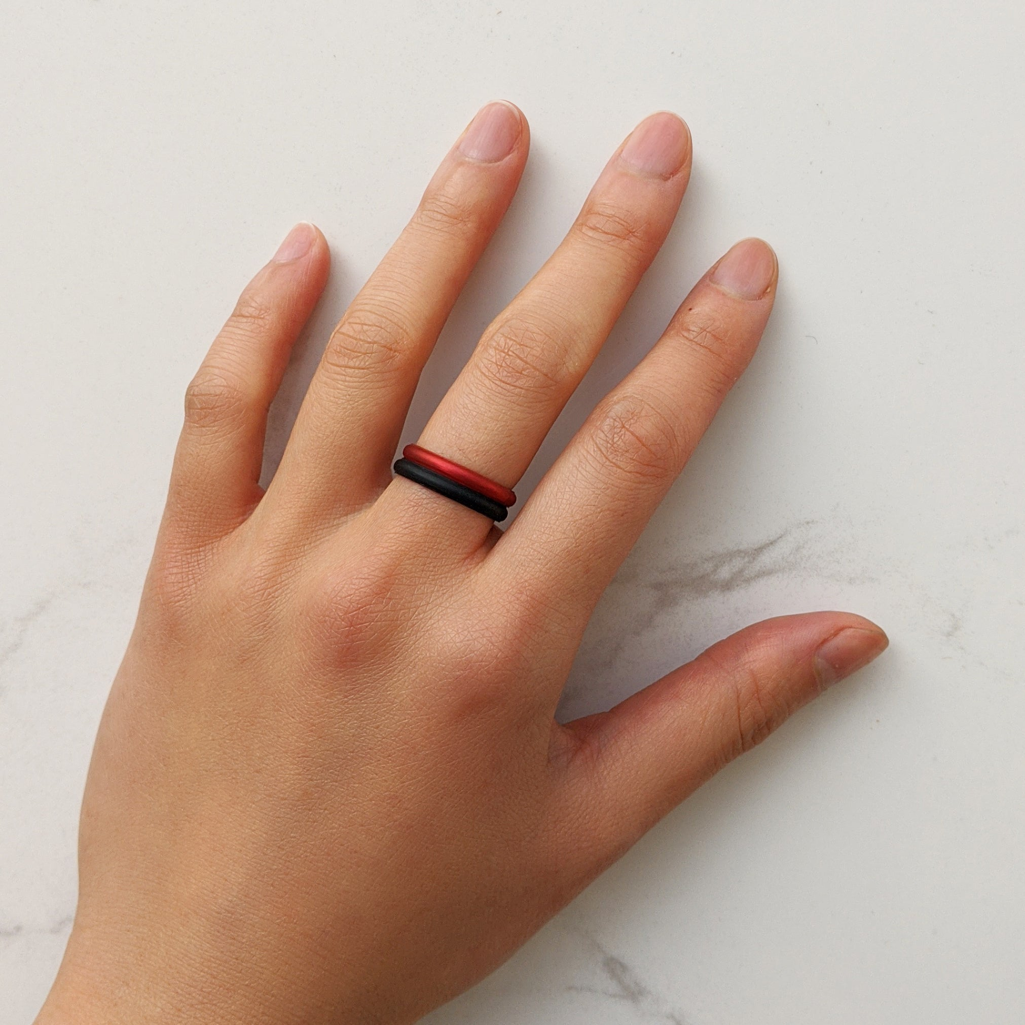 Metallic Red Garnet Stackable Slim Thin Breathable Silicone Ring for Women