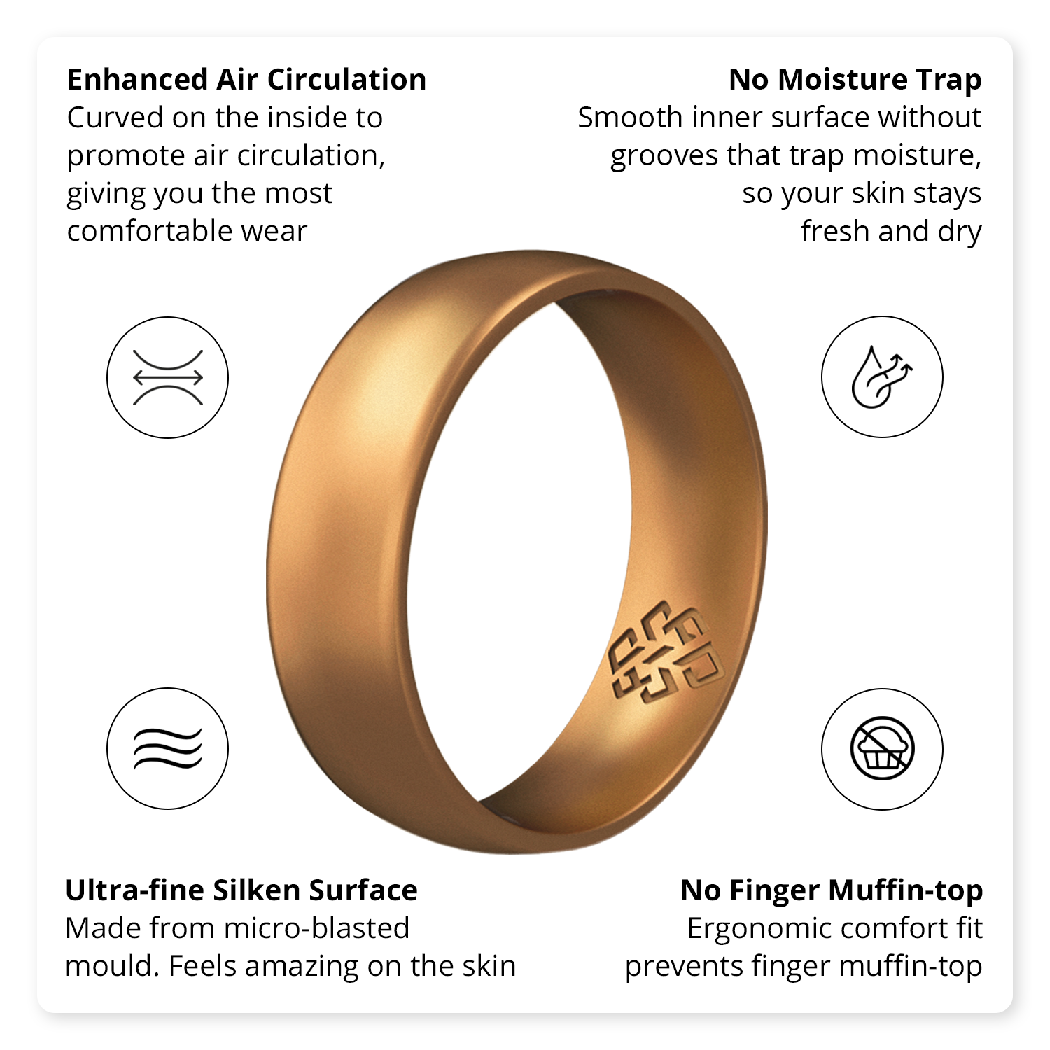 Woodland 3-Pack Comfort Fit Silicone Wedding Ring