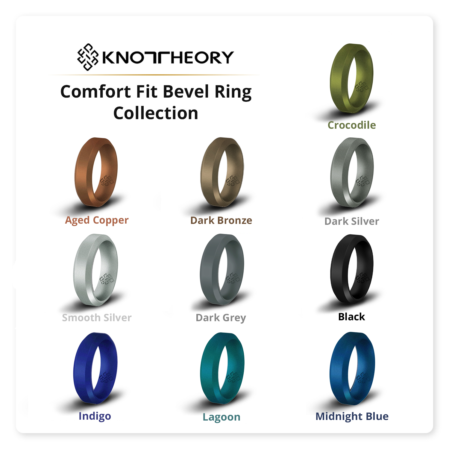 Dark Bronze Bevel Comfort Fit Silicone Wedding Ring for Him and Her