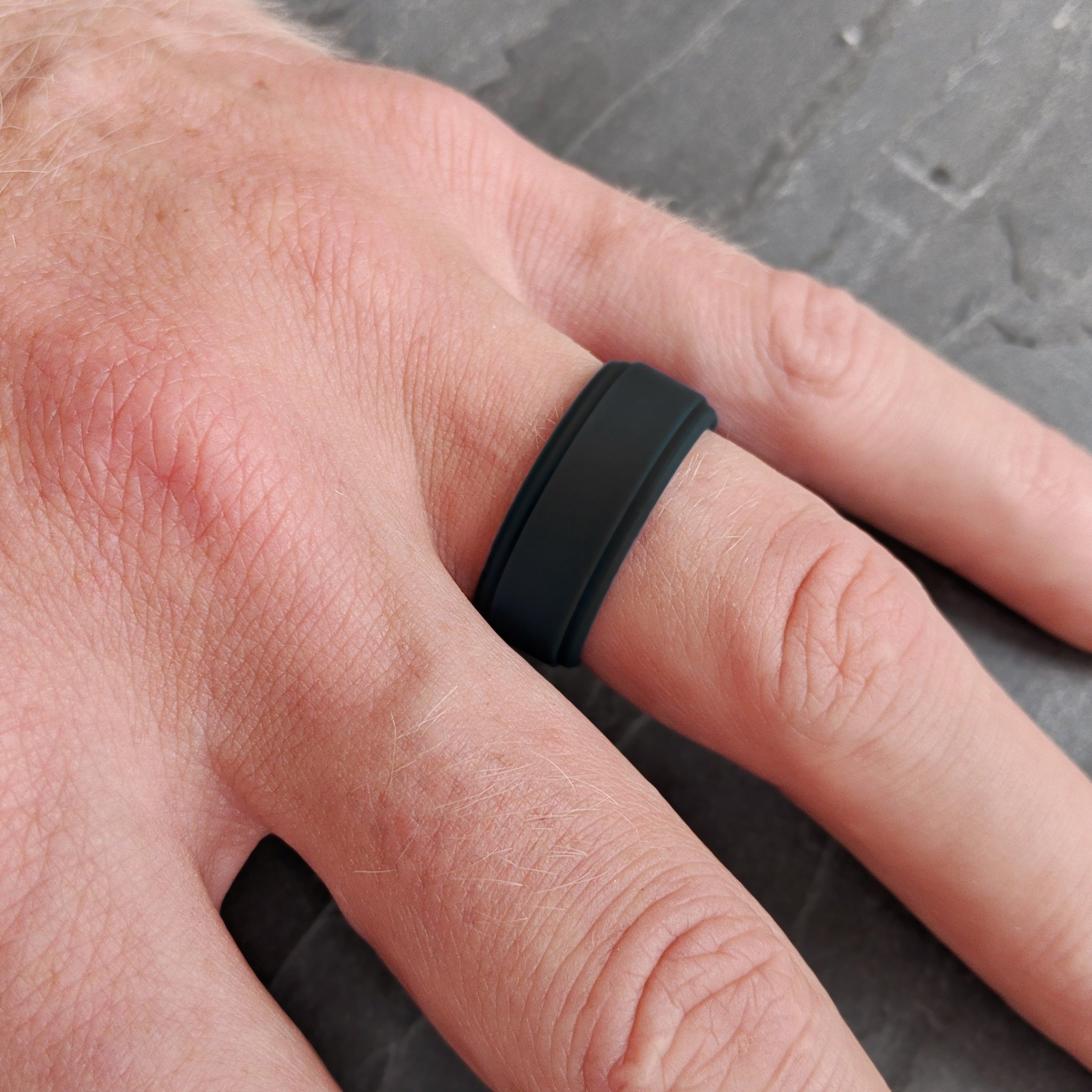 Smooth Black Bevel Comfort Fit Silicone Ring
