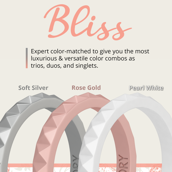 Bliss Stackable Silicone Wedding Rings 3-Pack