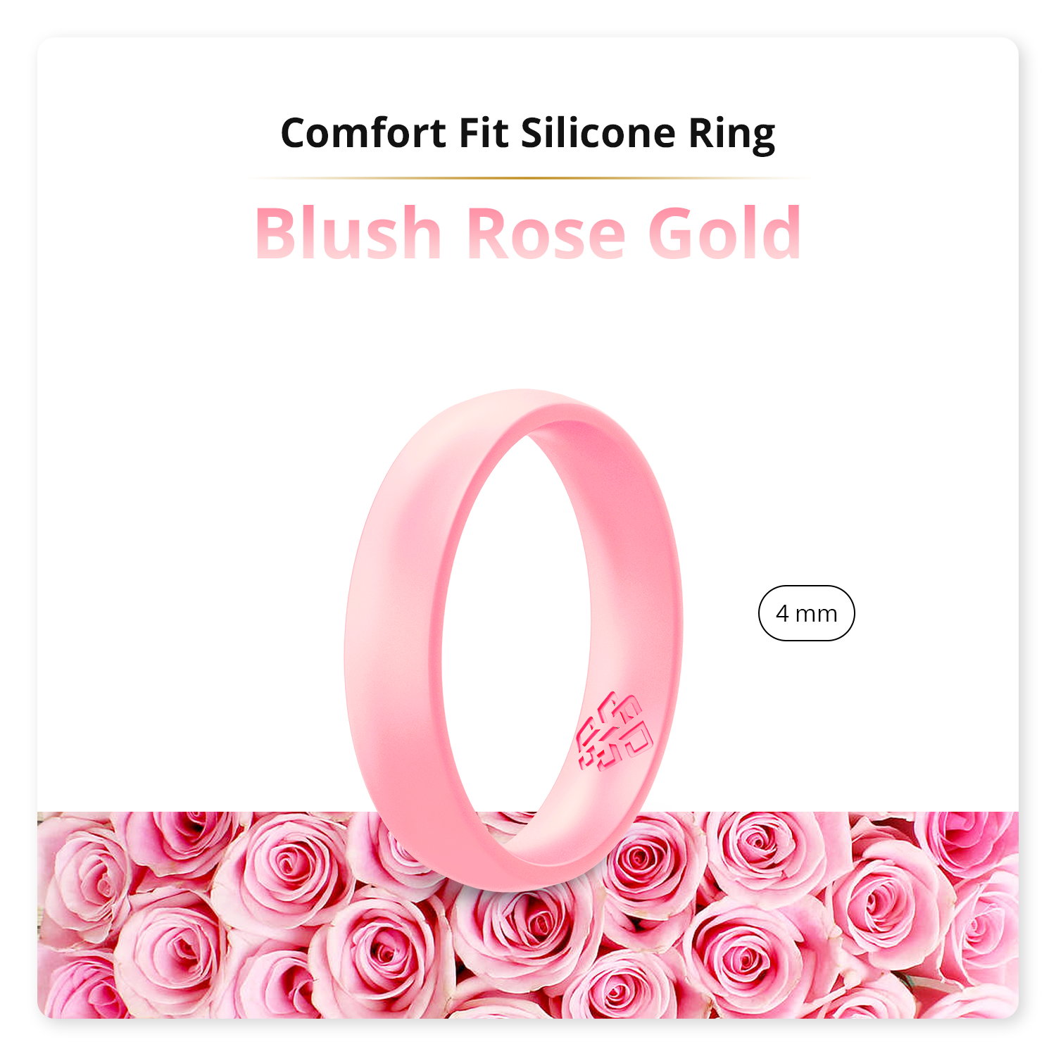 Blush Rose Gold Domed Comfort Fit Silicone Ring Woman