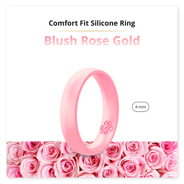 Blush Rose Gold Comfort Fit Silicone Wedding Ring