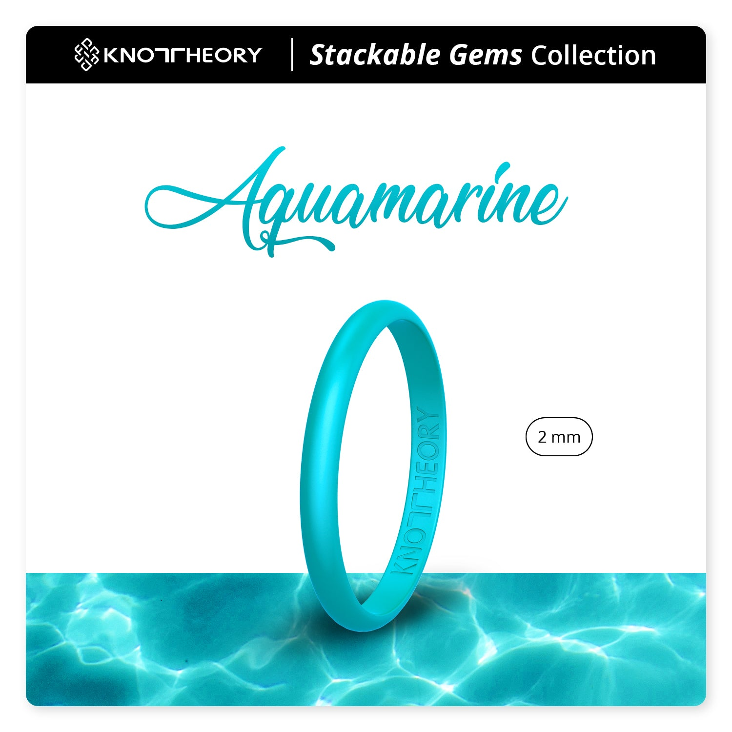 Pearl Aquamarine Stackable Slim Thin Gem Silicone Ring Woman