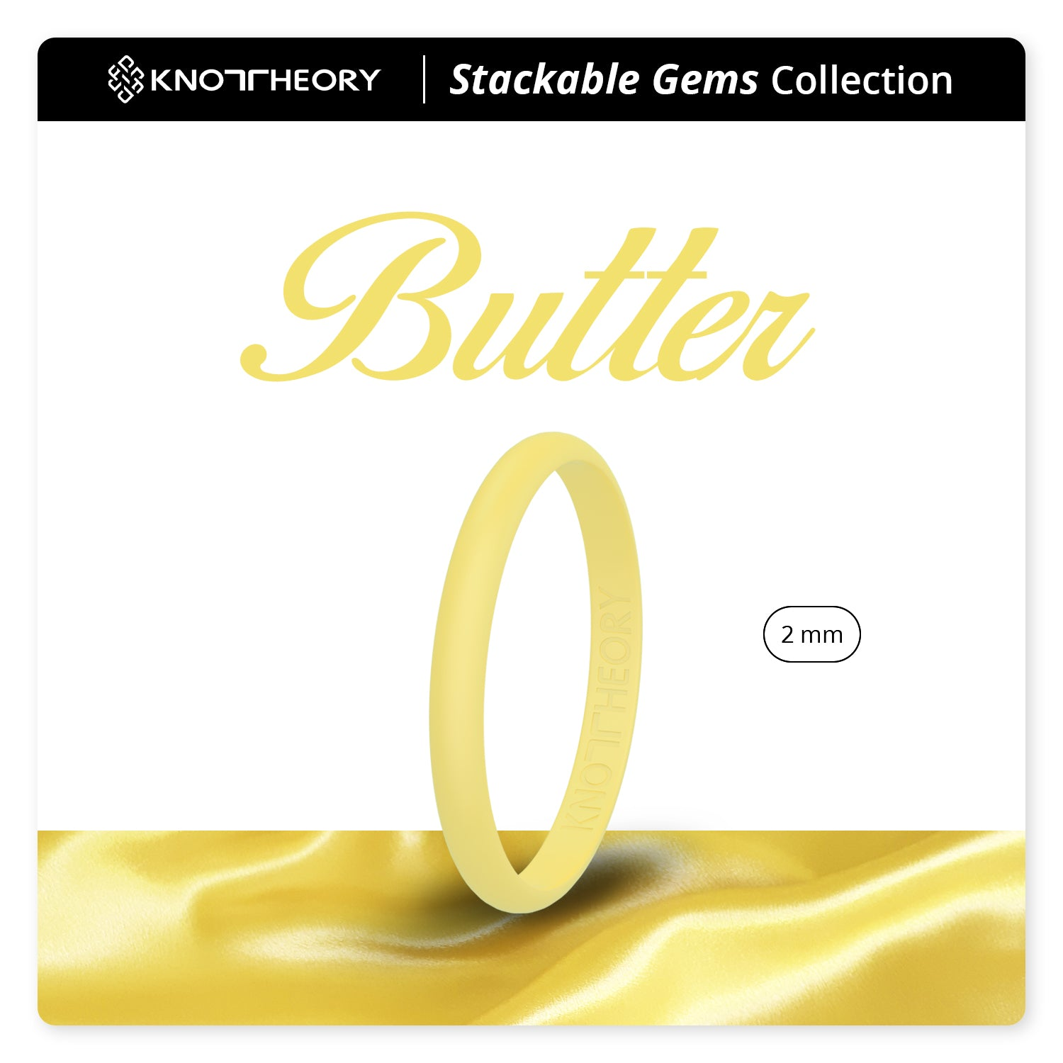 Butter Yellow Stackable Slim Thin Silicone Ring for Women