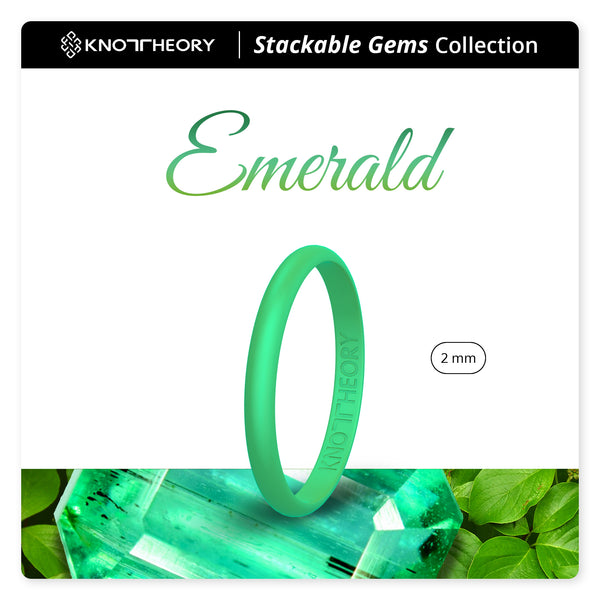 Pearl Green Emerald Stackable Slim Thin Gem Silicone Ring Woman