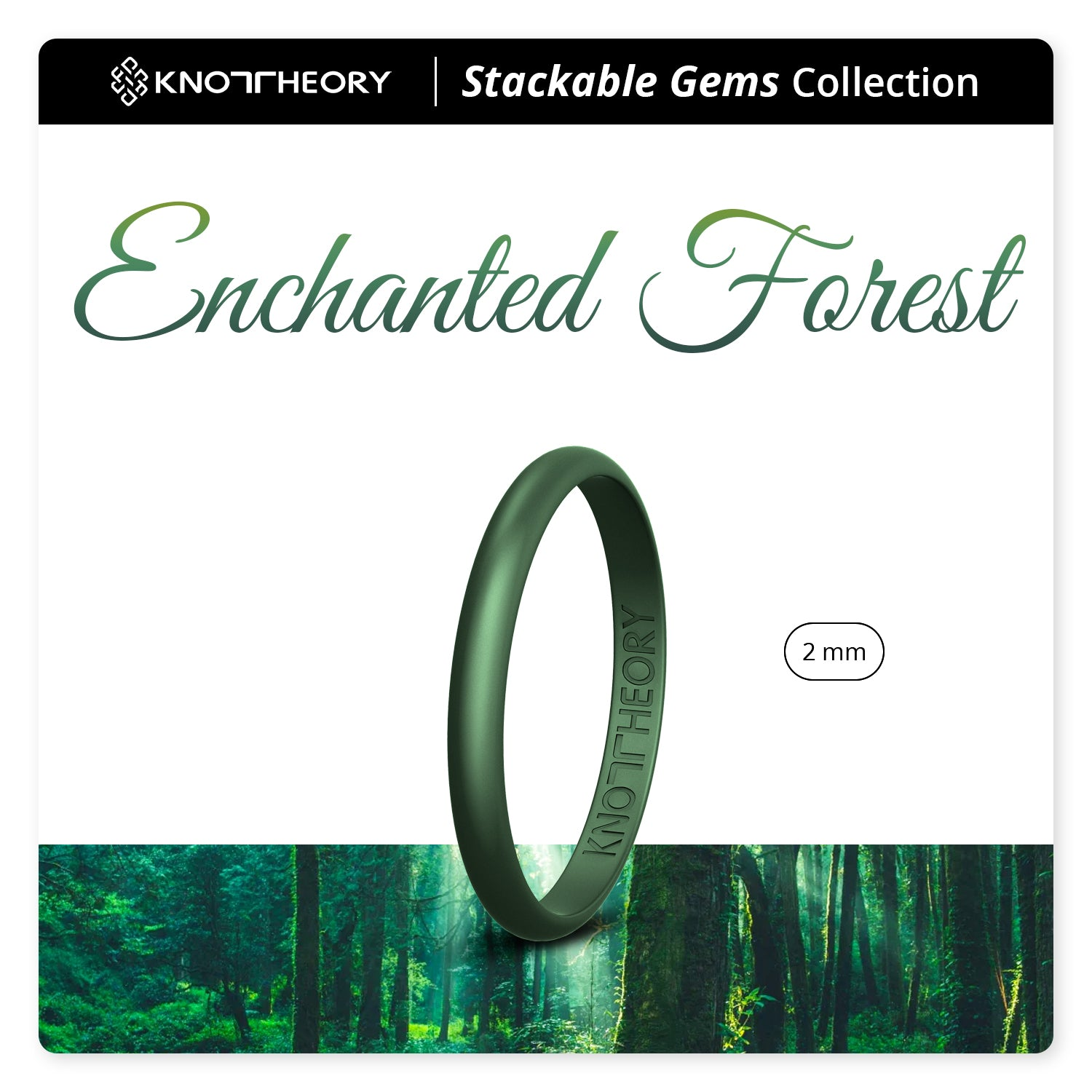 Enchanted Green Stackable Slim Thin Gem Silicone Ring Woman