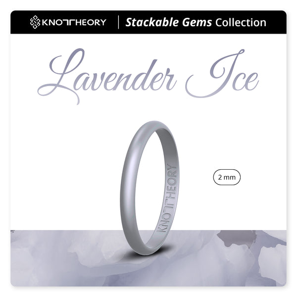 Pearl Baby Purple Lavender Ice Stackable Slim Thin Gem Silicone Ring Woman