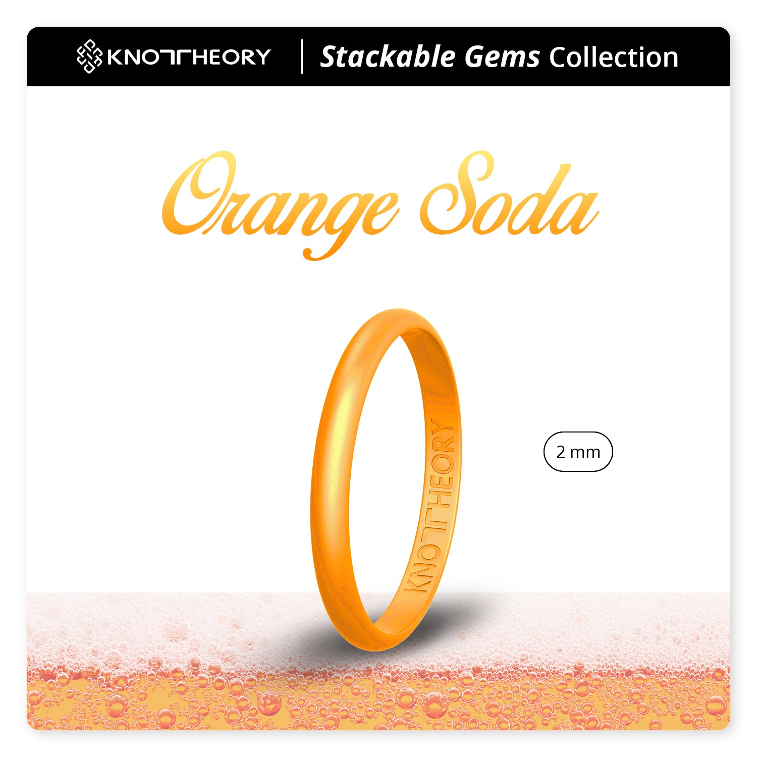 Pearl Orange Stackable Slim Thin Gem Silicone Ring Woman