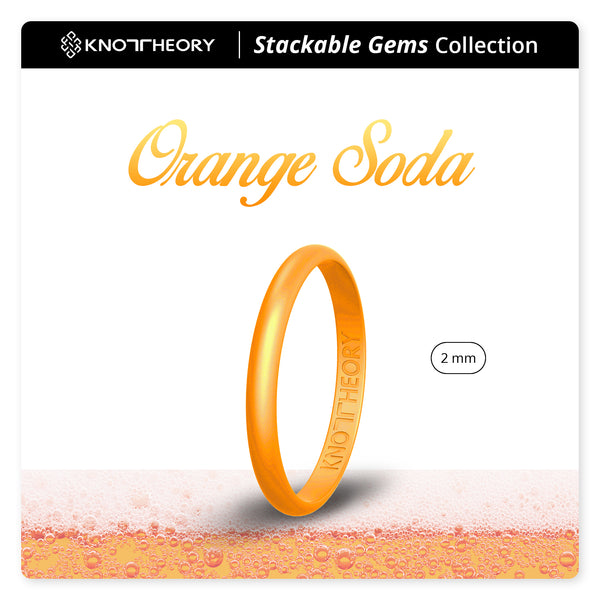 Pearl Orange Soda Stackable Slim Thin Gem Silicone Ring Woman