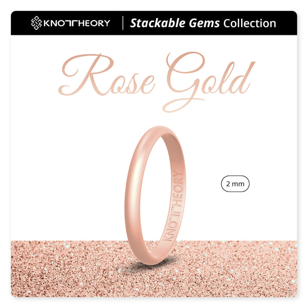 Rose Gold Stackable Slim Thin Gem Silicone Ring Woman