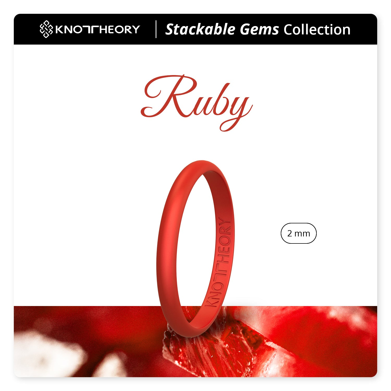 Pearl Red Ruby Stackable Slim Thin Breathable Silicone Ring for Women