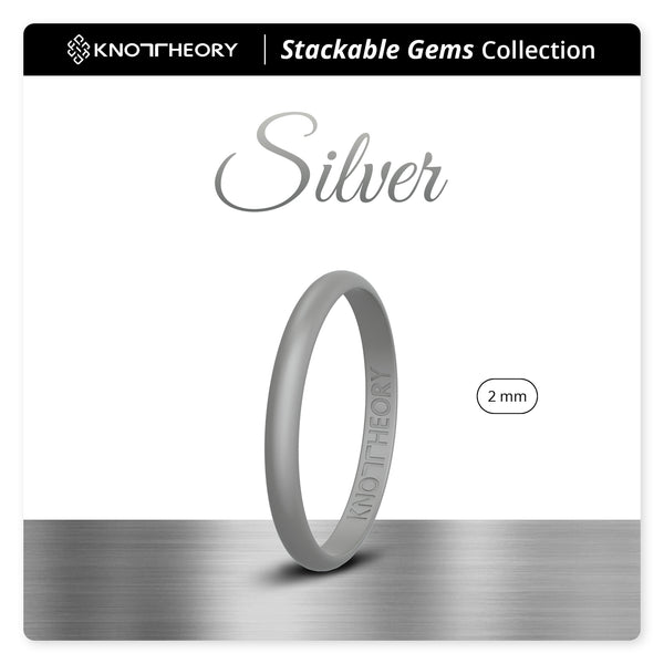 Silver Stackable Slim Thin Gem Silicone Ring Woman