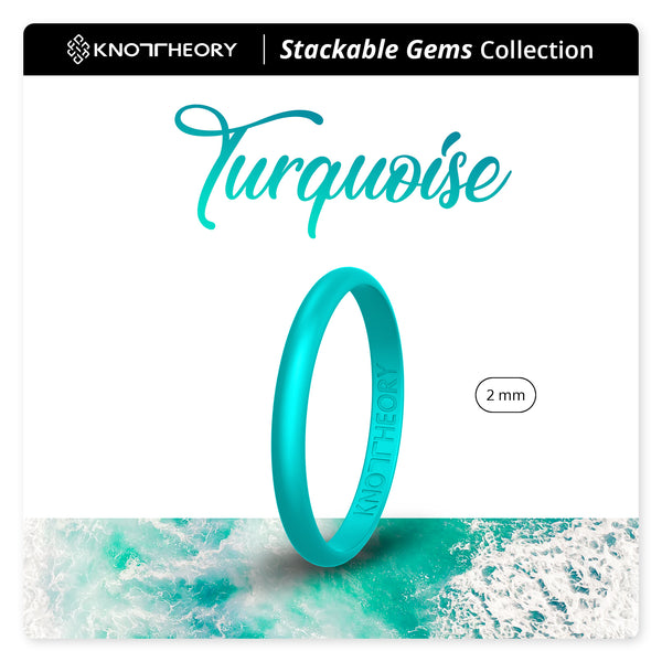 Pearl Turquoise Stackable Slim Thin Gem Silicone Ring Woman