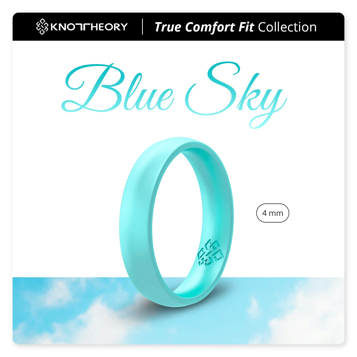 Pearl Baby Blue Breathable Silicone Ring for Women