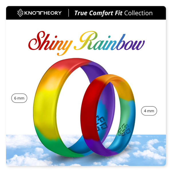 Shiny Rainbow Comfort Fit Silicone Ring