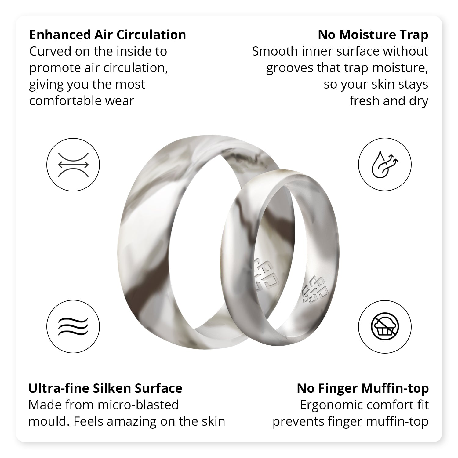 White Marble Domed Comfort Fit Silicone Ring Man Woman