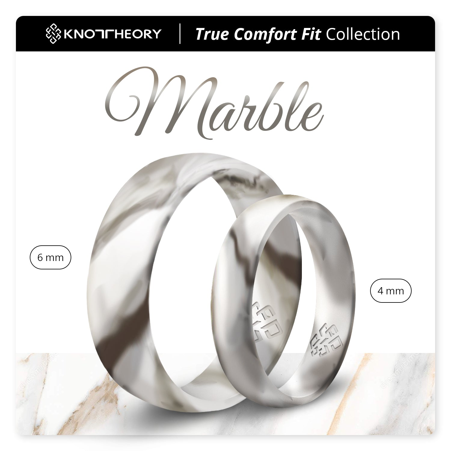 White Marble Breathable Silicone Ring for Men and Women