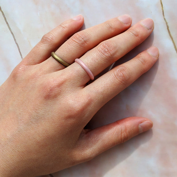 Rose Gold Stackable Slim Thin Breathable Silicone Ring for Women
