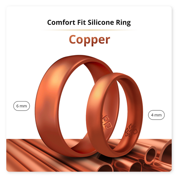 Copper Comfort Fit Silicone Ring Man Woman