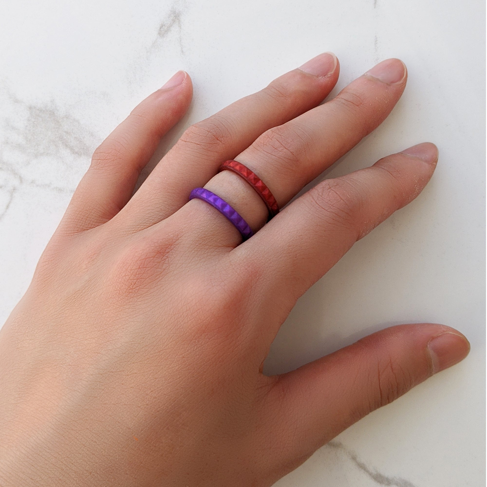 Pearl Purple Amethyst Pyramid Stackable Slim Thin Silicone Ring Woman