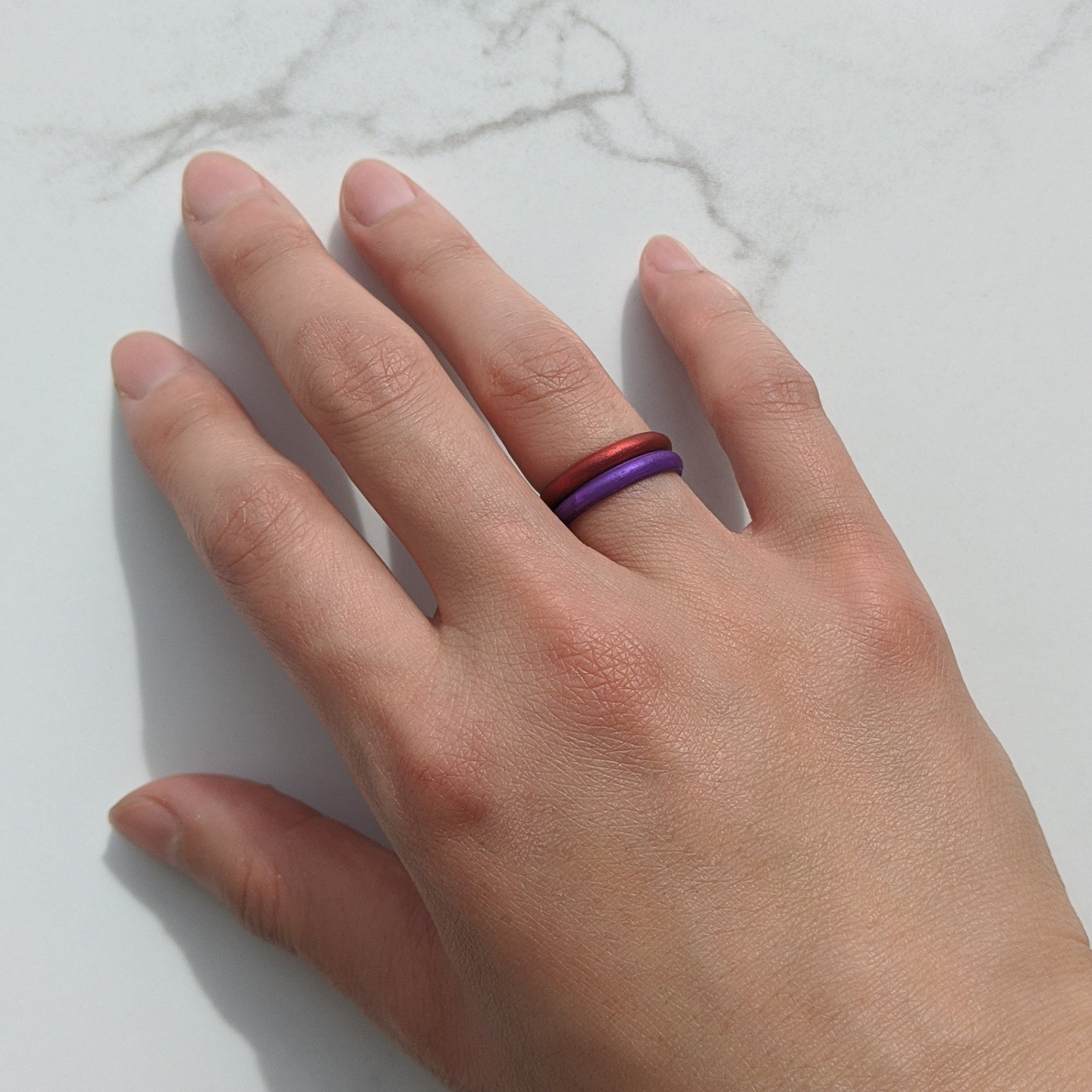 Pearl Purple Amethyst Stackable Slim Thin Gem Silicone Ring Woman