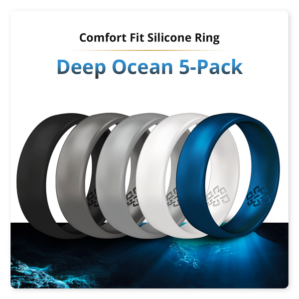 Deep Ocean 5-Pack Domed Comfort Fit Silicone Ring Man