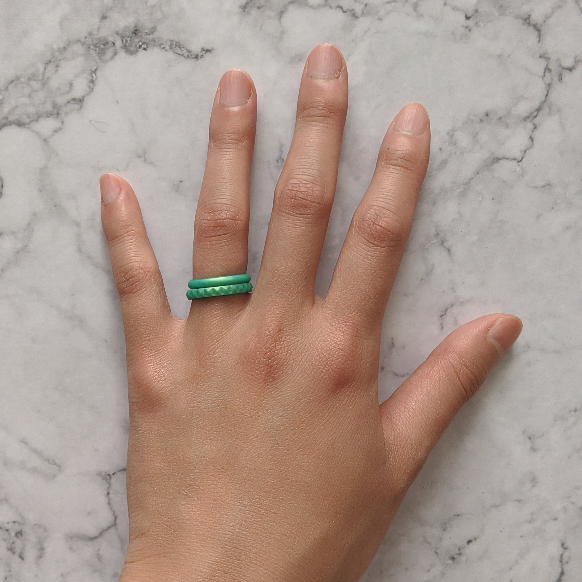 Pearl Green Emerald Pyramid Stackable Slim Thin Silicone Ring for Women