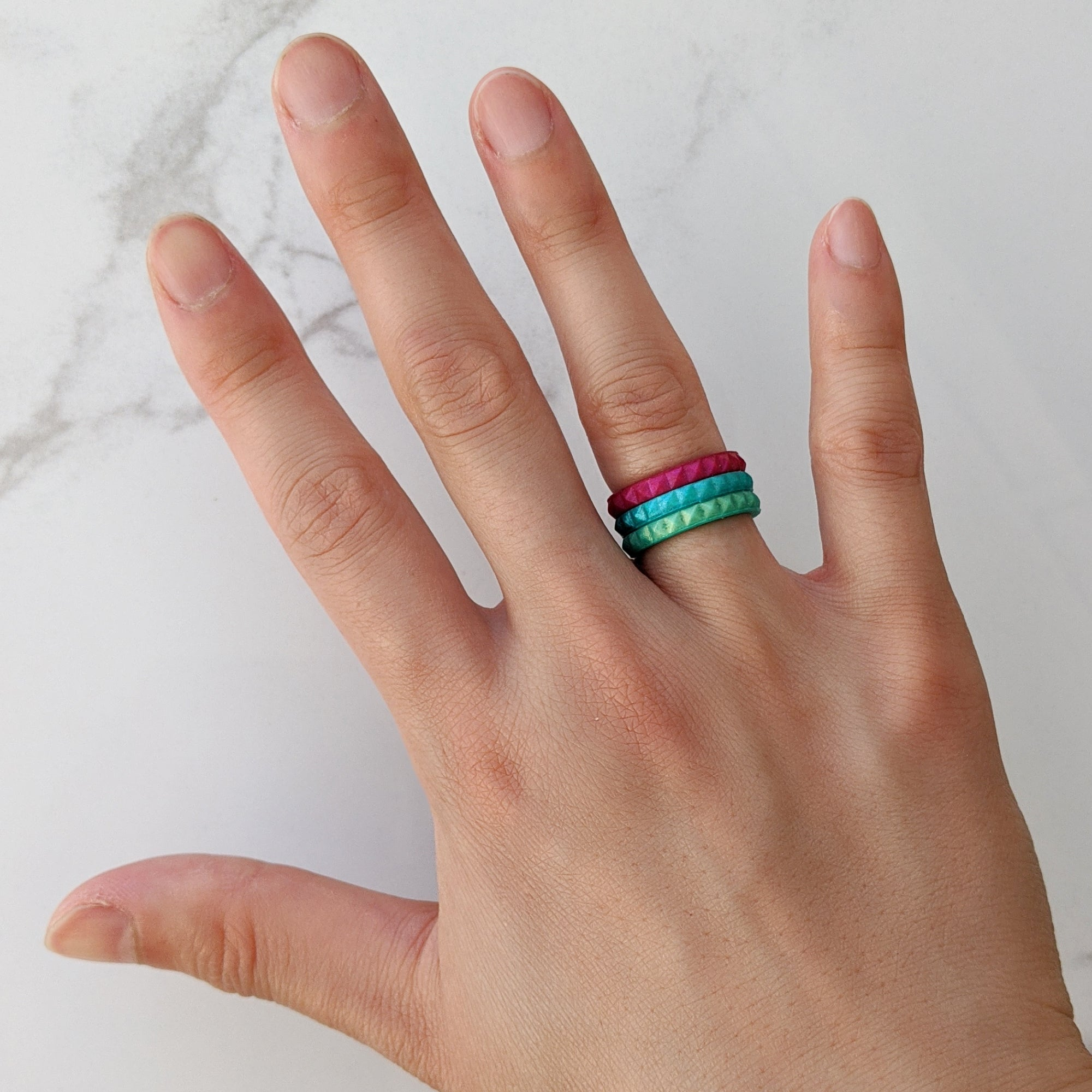 Pearl Green Emerald Stackable Slim Thin Breathable Silicone Ring for Women