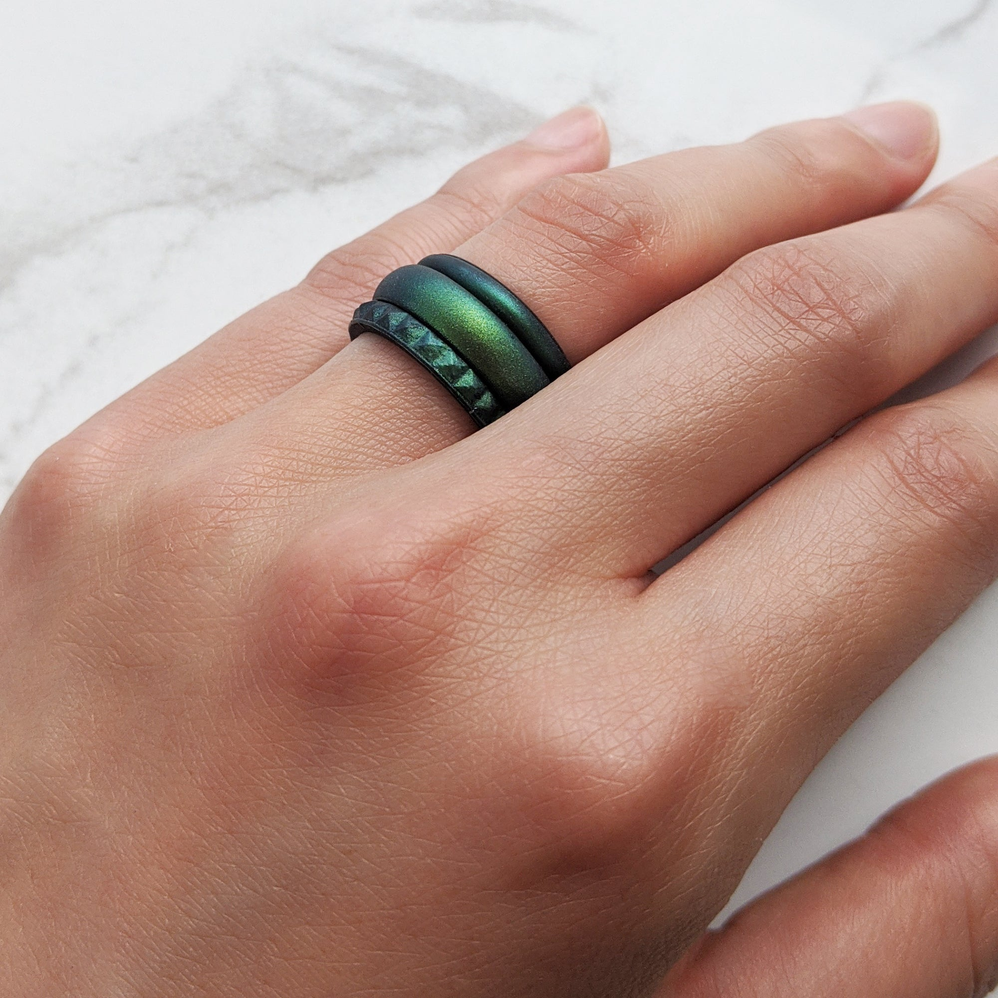 Enchanted Green Pyramid Stackable Slim Thin Silicone Ring Woman