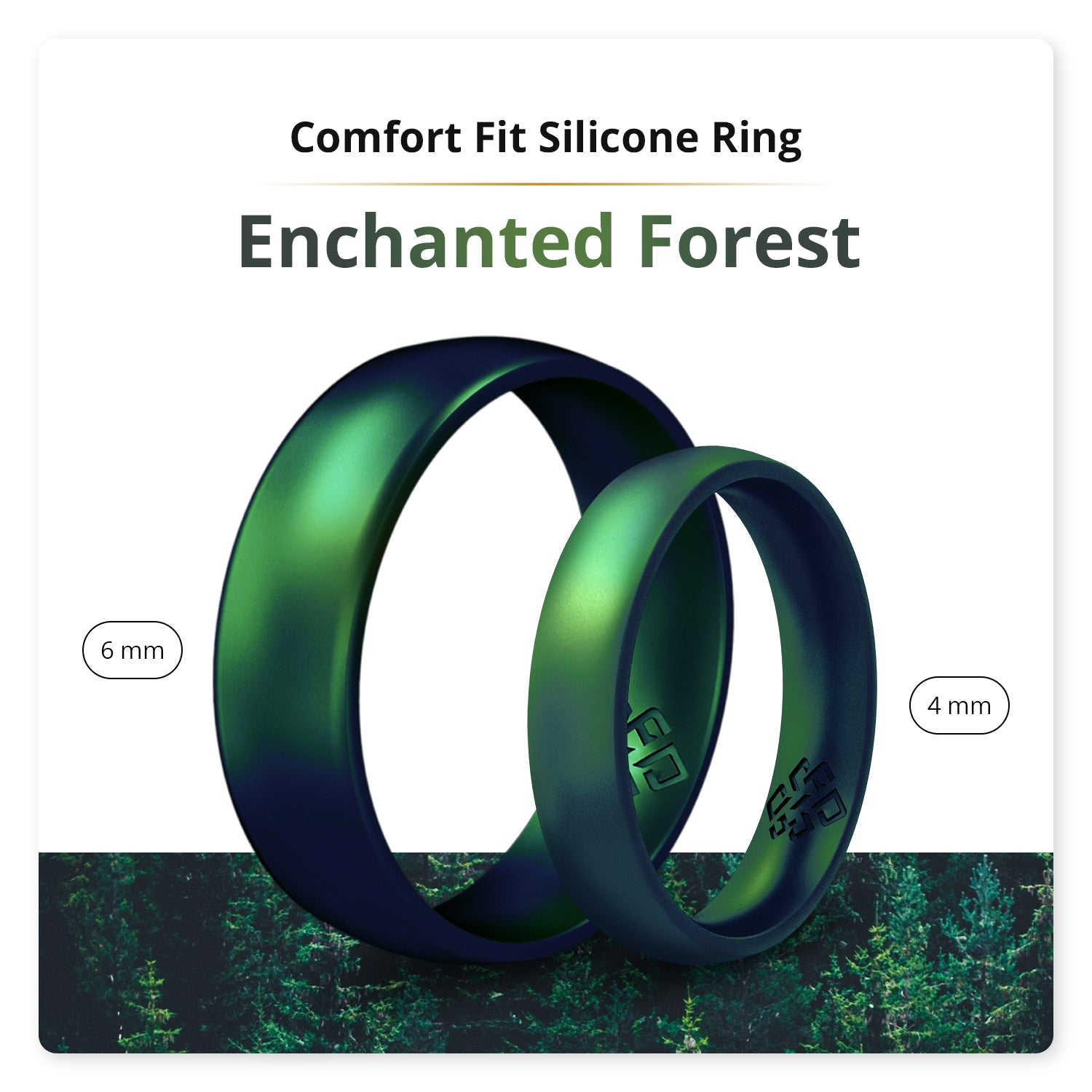 Enchanted Forest Domed Comfort Fit Silicone Ring Man Woman